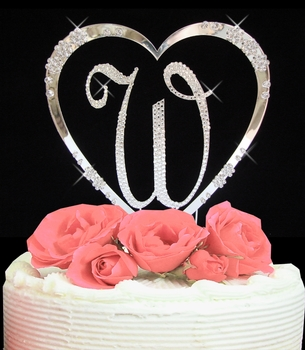 initial heart cake topper
