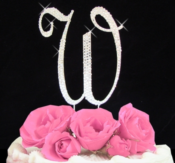Cake Toppers Letters : Letter W Cake Topper   Initial W Covered in Rhinestone ...