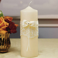french lace pillar candle