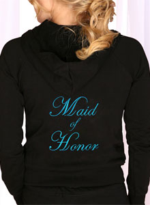 embroidered maid of honor hoodie