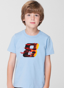 Boys Racing Flames 8th Birthday T Shirt