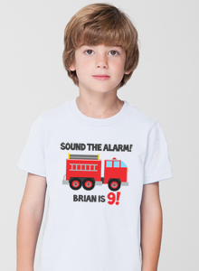 boys birthday shirt with fire truck