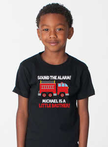 boys little brother shirt with fire truck