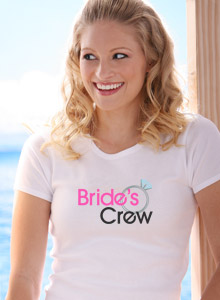 bride's crew with ring t-shirt