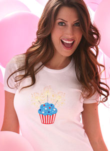 cupcake with sparklers t shirt