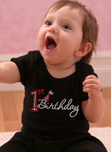 Its Her 1st Birthday And She Is The Center Of Attention Give A Rhinestone Shirt To Celebrate Day Our Design Has Larger Number