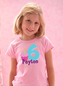 Girls 6th Birthday Cupcake T Shirt