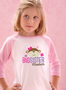 big sister monkey shirt