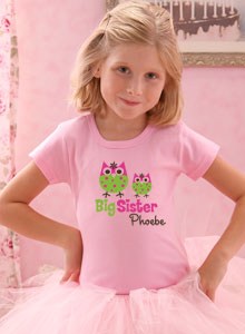 sister with owls shirt
