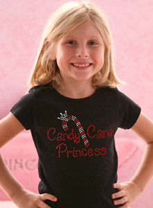 candy cane princess girls t-shirt