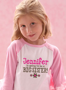 going to be big sister flower with personalized name t-shirt