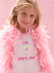 Girls I M Seven Years Old Birthday T Shirt Bold Stripes