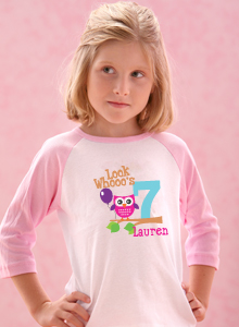 Girls Look Whos 7 Age T Shirt