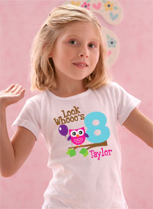 Girls Look Whos 8 Age T Shirt