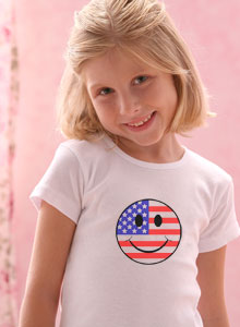 girls smiley face patriotic t shirt