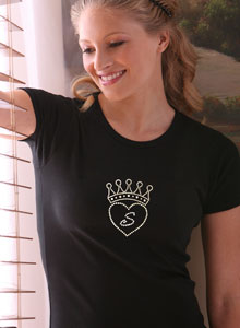 heart with rhinestone crown t shirt