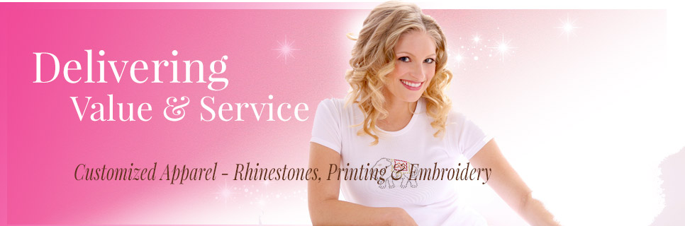 wholesale rhinestone clothing and shirts plus embroidery and printing